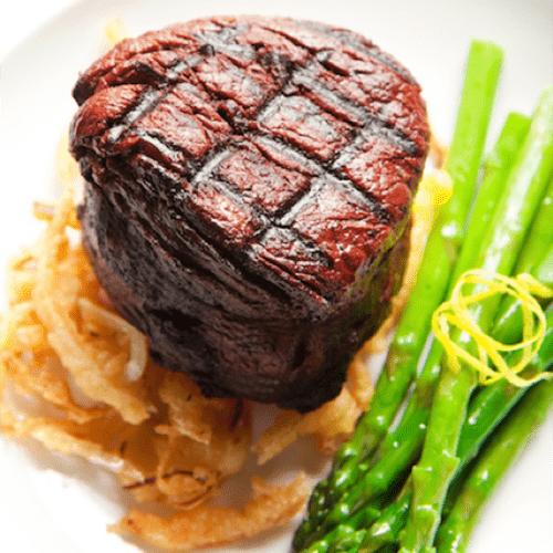 Filet de bœuf, asperges et vinaigrette maison