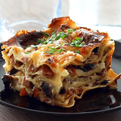 Lasagnes végétariennes (Courgettes, carottes, champignons, emmental)