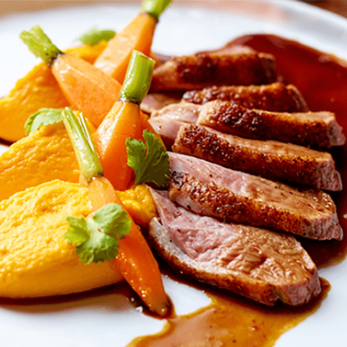 Magret de canard et sa purée de carottes au cumin